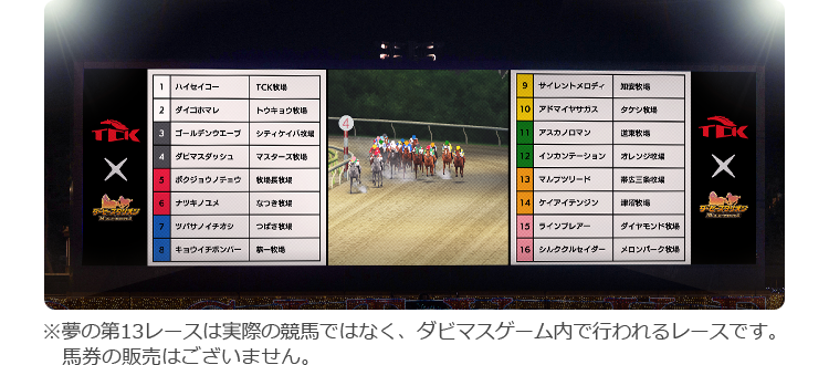 ※夢の第13レースは実際の競馬ではなく、ダビマスゲーム内で行われるレースです。馬券の販売はございません。