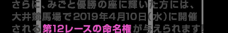 さらに、みごと優勝の座に輝いた方には、大井競馬場で2019年4月10日(水)に開催される第12レースの命名権が与えられます!