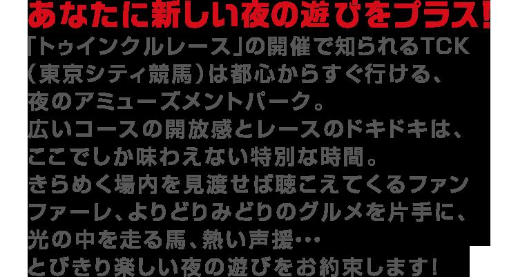 あなたに新しい夜の遊びをプラス!「トゥインクルレース」の開催で知られるTCK(東京シティ競馬)は都心からすぐ行ける、夜のアミューズメントパーク。広いコースの開放感とレースのドキドキは、ここでしか味わえない特別な時間。きらめく場内を見渡せば聴こえてくるファンファーレ、よりどりみどりのグルメを片手に、光の中を走る馬、熱い声援・・・とびきり楽しい夜の遊びをお約束します!