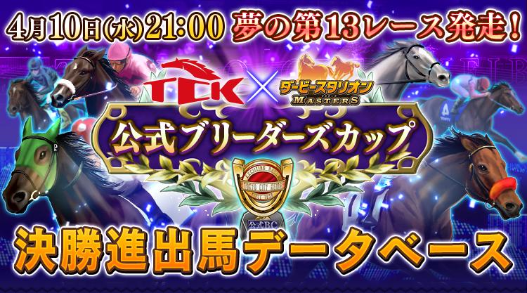 TCK(東京シティ競馬)×ダビマス 2019年4月10日(水)21:00 夢の第13レースついに出走! 公式ブリーダーズカップ決勝進出馬データベース