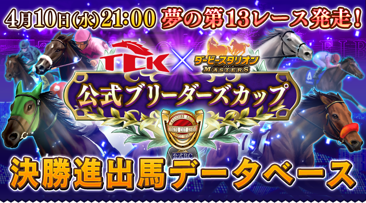 TCK(東京シティ競馬)×ダビマス|2019年4月10日(水)21:00 夢の第13レースついに出走!|公式ブリーダーズカップ決勝進出馬データベース