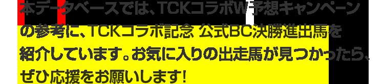 本データベースでは、TCKコラボW予想キャンペーンの参考に、TCKコラボ記念 公式BC決勝進出馬を紹介しています。お気に入りの出走馬が見つかったら、ぜひ応援をお願いします!